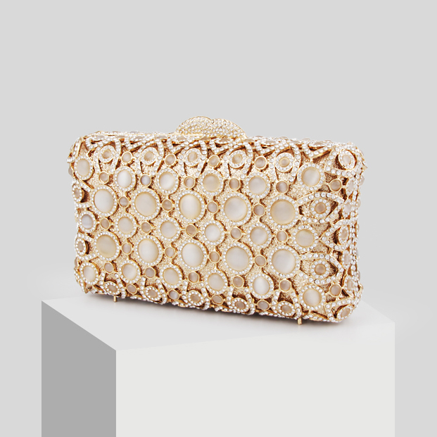 Large Rhinestone Sparkling Opal Clutch Bag Women's Fashion Crystal Evening Bag Texture Inner Party Bride Handbag Golden Frame