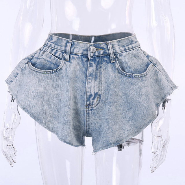 TWOTWINSTYLE Casual Denim Short For Women High Waist Patchwork Tassel Sexy Shorts Female Summer Fashionable New Clothing Style 5