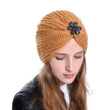 Bohemian style Winter Hats Men Women Solid Color Soft Warm Knitted Bonnet Hat Caps Flower Diamond women turbans Hot Sales
