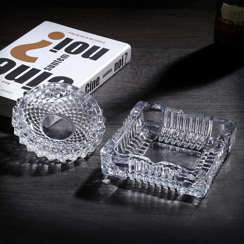 Glass Ashtray Office Ashtray Square Circle Simple Cool European Style Multi-functional Ash Tray Living Room Ashtray