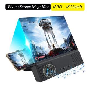 Image 1 - Besegad 12 inch 3D HD Phone Screen Amplifier Magnifier Movie Video Projector with Bluetooth Spearker Photo Frame Mobile Power