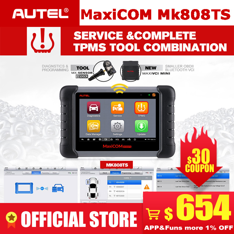 Autel MaxiCOM MK808TS as MK808 add TS601 TPMS Service OBD2 Car Diagnostic Tool OBD 2 Scanner Key Coding PK Maxisys MS906TS MK808-in Code Readers & Scan Tools from Automobiles & Motorcycles