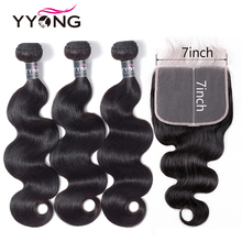 Yyong Body Wave Bundles With 7x7 Closure Remy Peruvian Human Hair Weave 3/4 Pre-plucked Frontal Bundle
