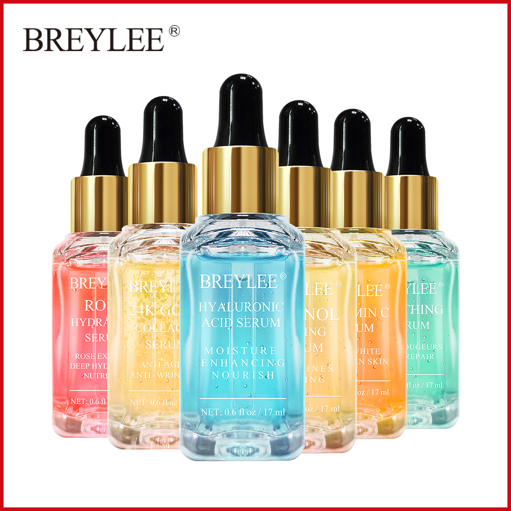 BREYLEE Face Serum Mask Retinol Skin Care Whitening Cream Vitamin C Hyaluronic Acid Moisturizer 24k Gold Anti Aging Essence 17ml