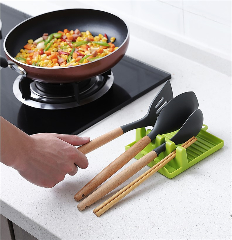 Multifunction Kitchen Tool Spoon Rest Holder Organizer Spatula Holder Racks Kitchen Storage Mat Shelf