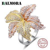 BALMORA 100% Real 925 Sterling Silver Daisy Flowers & Zircon Rings for Women Lover Girl Gift Fashion Jewelry Anillos 5.5g Ring