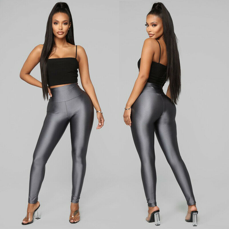 New Women Ladies Soft Casual Leggings Fitness Solid PU Elastic Dress Pants