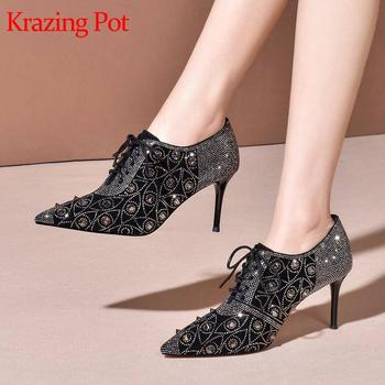 Krazing pot new hot kid suede pointed toe high heels colorful rhinestone shiny deep mouth lace up party early spring pumps L10