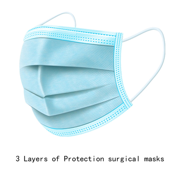 10 pieces of 3-layer disposable masks medical protection medical protection non-woven masks dustproof haze green / blue