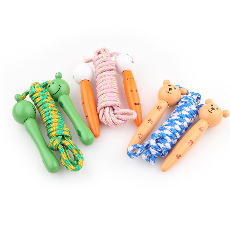 Kids Jump Ropes Wood Handle Sport Bodybuilding Fitness Lovely Cartoon Skipping Ropes