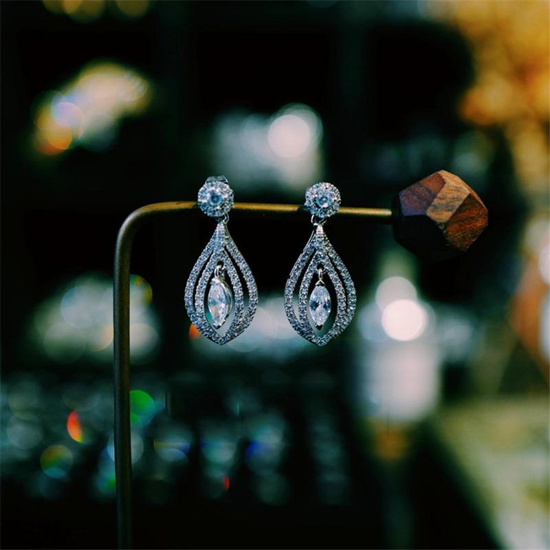 Luxury Female White Crystal Drop Earrings Rose Gold Silver Color Dangle Earrings Dainty Hollow Leaf Wedding Earrings For Women