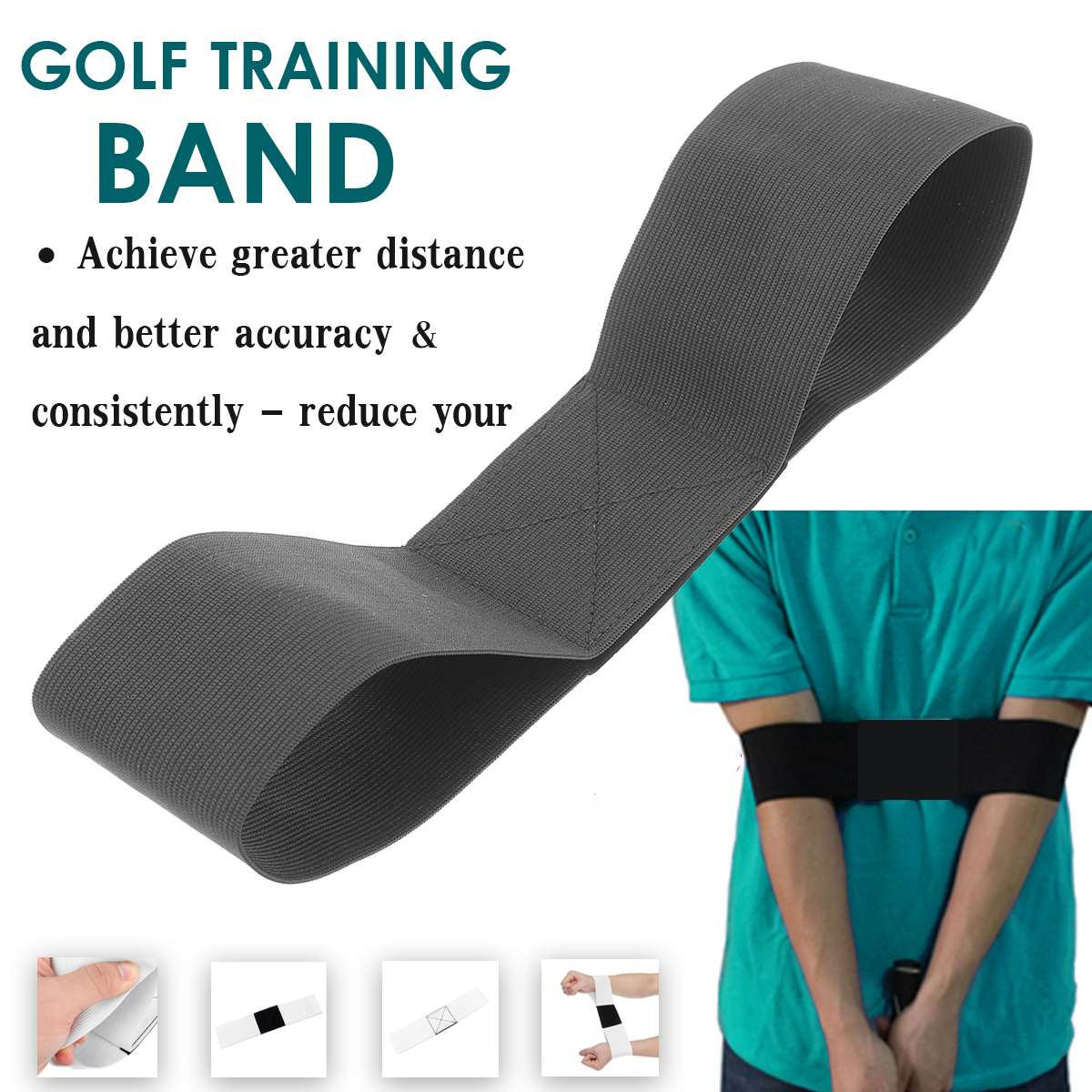 Golf Swing Trainer Practice Guide Gesture Alignment Golf Training Aid Correct Swing Trainer Elastic Arm Band Belt Beginner