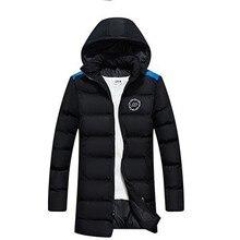 Зимнее хлопковое Мужское пальто средней длины с капюшоном, толстое теплое молодежное Мужское пальто с хлопковой подкладкой