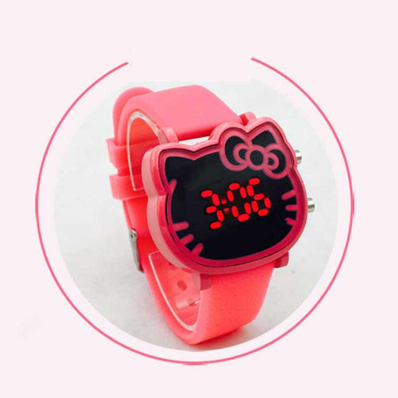 Kids Watches Electronic-Watch Girl Waterproof Children's Cartoon Cute Student Cat LED