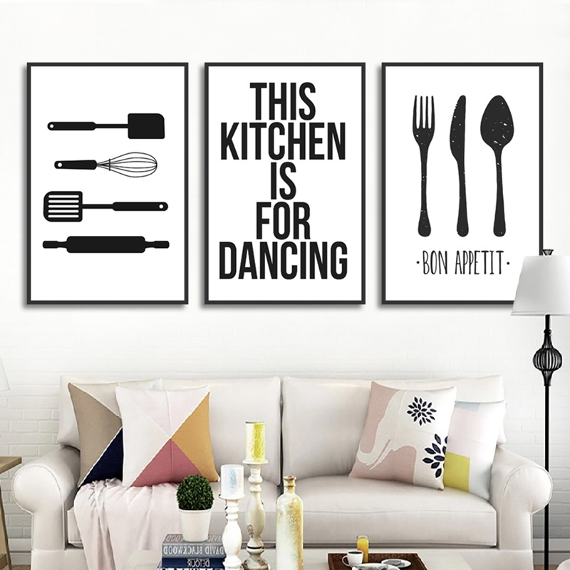Modern Alphabet Poster Print Tableware Canvas Painting Picture Kitchen Wall Art Graffiti Home Restaurant Decoration Custom