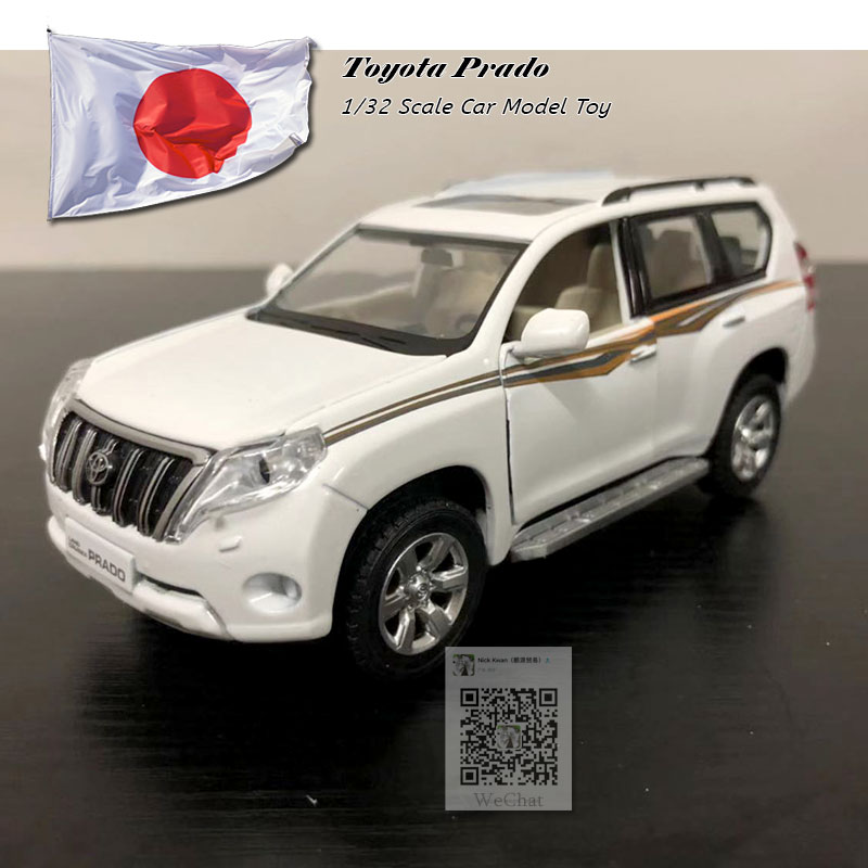 1/32 Scale Pull Back Car Model Toys JAPAN 2016 Toyota Prado SUV Diecast Metal Sound&Light Car Model Toy For Gift/Kids