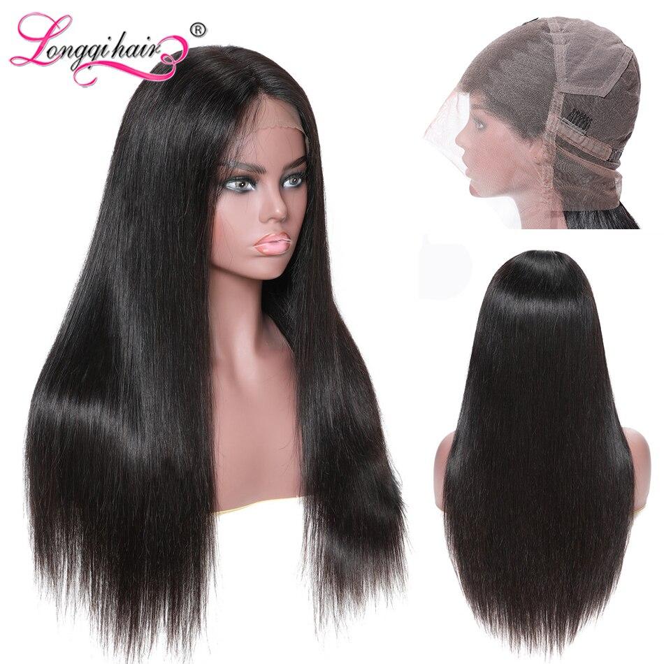 Longqi Hair Pre Plucked Full Lace Human Hair Wigs Brazilian Straight Human Hair Wig Remy Glueless