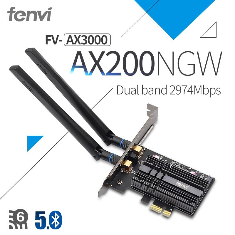 Fenvi Wireless AX3000 Wi-Fi 6 3000Mbps PCIe Bluetooth 5 1 Wifi Adapter Intel AX200 Wi-fi Card 802 11ac ax 2 4G 5Ghz For Desktop