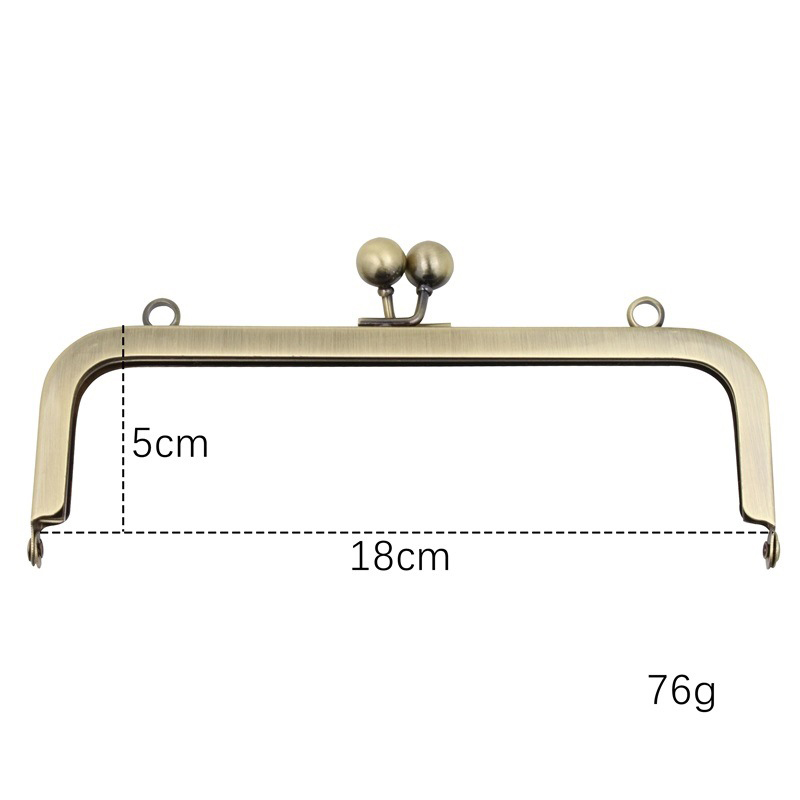 18cm No Knurling Purse Frame Screws Fixed Women DIY Bag Making Metal Clasp Straight 10pcs/lot