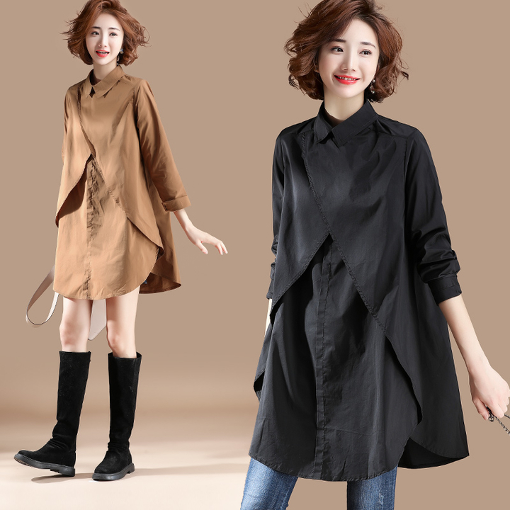 Plus Size 2019 New Autumn Women Shirts Full Sleeve Loose Long Hong Flavor Blouse Shirt Khaki Black 9851