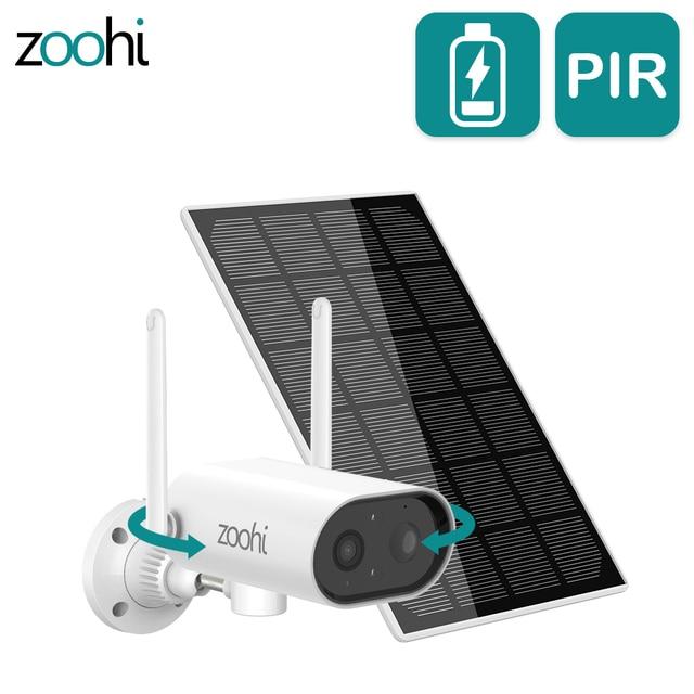 Zoohi Pan Tilt Battery Wireless Camera IP Surveillance WiFi Camera 3MP HD PIR Wire-Free Security Solar Camera 1