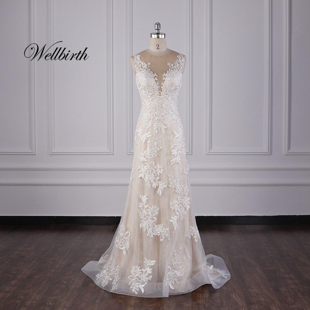100% Real Picture Wellbirth Vestido De Novia V-neckline Zippber Back Mermaid Wedding Dress With Detachable Train JC036