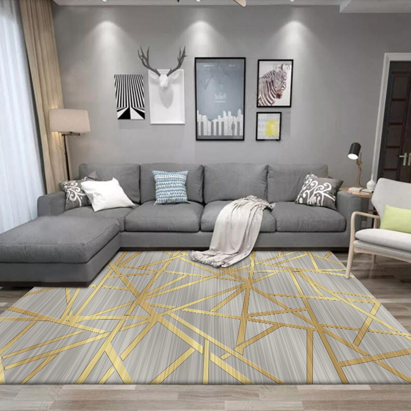 Modern Style Living Room Large Carpets Geometric Golden Striped Home Decor Area Rugs Sofa Coffee Table Bedroom Bedside Floor Mat