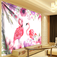 Watercolor Flamingo Flowers Tapestry Wall Hanging Cloth Banana Leaf Tapestries Beach Towel Nordic Home Wall Cloth Yoga Mats Rug watercolor leaf flamingo tassel hanging painting wall decor print