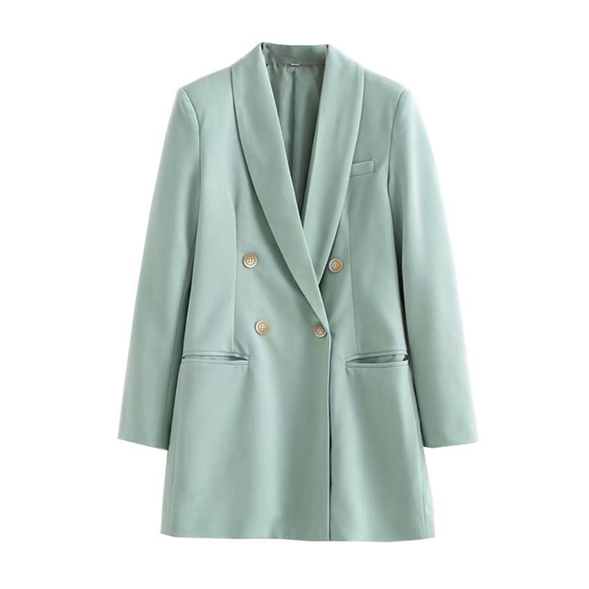 2019 Women Mint Color Elegant Suit Coat Long Sleeve Double Breasted Solid Blazer Pockets V-Neck Office Lady Blazer Jacket