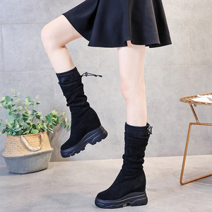 Image 3 - SWYIVY Chaussure Femme Mid Calf Wedge Shoes Woman 2019 Slim Womens Winter Shoes Slip On Platform Boots Ladies Flock Woman Boots