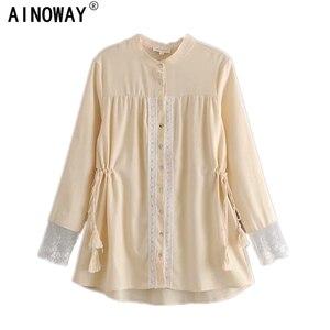 Image 1 - Женская винтажная блузка с кисточками, богемная пляжная блузка с цветочной вышивкой, кимоно с длинным рукавом, свободные рубашки в стиле бохо