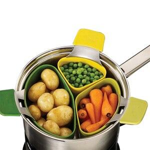 3 unids/set comida vapor cesta de silicona de vapor olla para cocinar verduras multifunción accesorios de cocina utensilios de cocina
