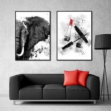 Настенный художественный холст с рисунком слона красота макияж