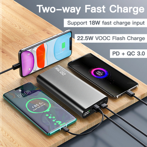 Image 2 - 20000 мАч Внешний аккумулятор 22,5 Вт Быстрая зарядка 3,0 5A повербанк внешний аккумулятор цифровой дисплей PD быстрая портативная Внешняя батарея супер быстрое зарядное устройство