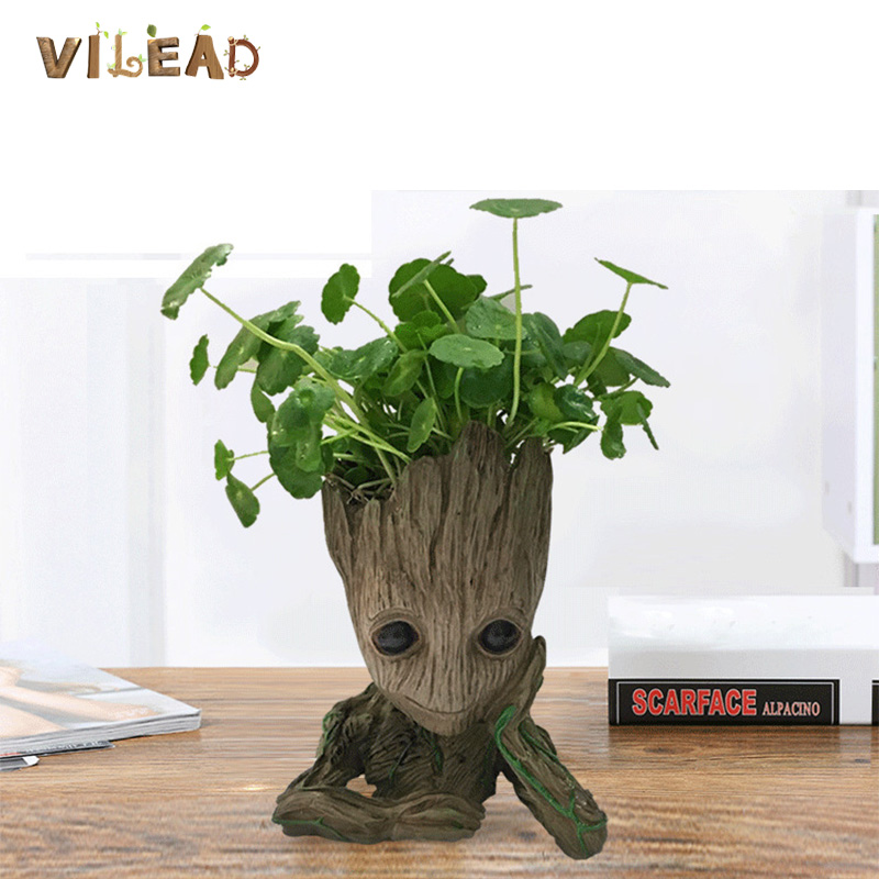 VILEAD Treant Groot Modeling Flowerpot Resin Crafts Decor Home Vase Office Hotel Desktop Creative Decoration Hydroponic Vase