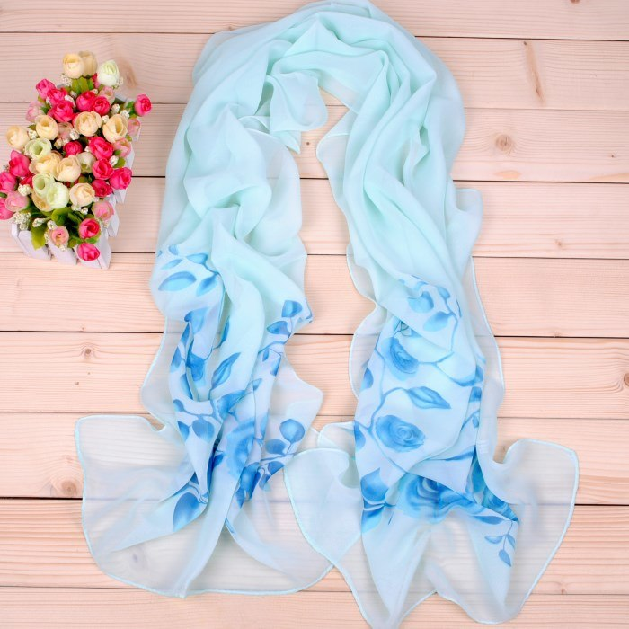 New Women Chiffon Silk Scarfs Fashion Spring Square Polyester Scarves Print Flowers Shawl Summer Shawls And Hijabs