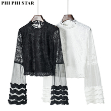 Phi Star Brand flare sleeve blouse Top Sexy black mesh versatile shirt