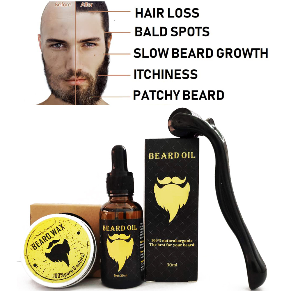 Beard Growth Kit, Beard Derma Roller+ Beard Growth Serum Oil+ Beard Balm, Facial Hair Growth Kit, Derma Roller For Men