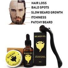 Sakal uzatma kiti, sakal Derma silindiri + sakal uzatma Serum yağı + sakal balsamı, yüz saç büyüme kiti, erkekler için Derma silindir