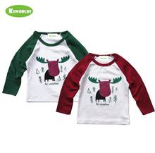 цена на 2019 High quality spring autumn cotton long sleeve boys and girls white T-Shirt ,with cutr deer &comfortable kids clothes
