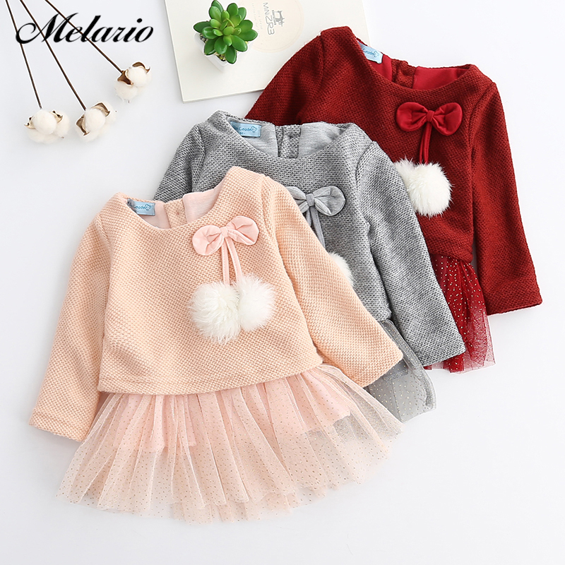Newborn Baby Girls Long Sleeve Autumn Winter Lovely Dress Outfits Tutu Dress Set