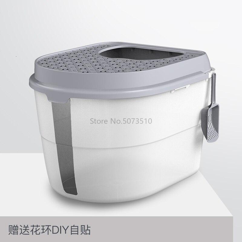 Top-in кошачья песочница полностью закрытый дезодорирующий супер-большой кошачий Туалет с защитой от запаха и брызг - Цвет: Белый