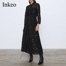 Черное женское кружевное платье рубашка с поясом осень 2019