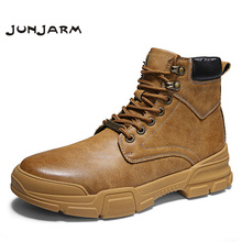JUNJARM Brand Handmade Outdoor Warm Men Ankle Boots High Quality Microfiber Fashion Autumn Basic Footwear