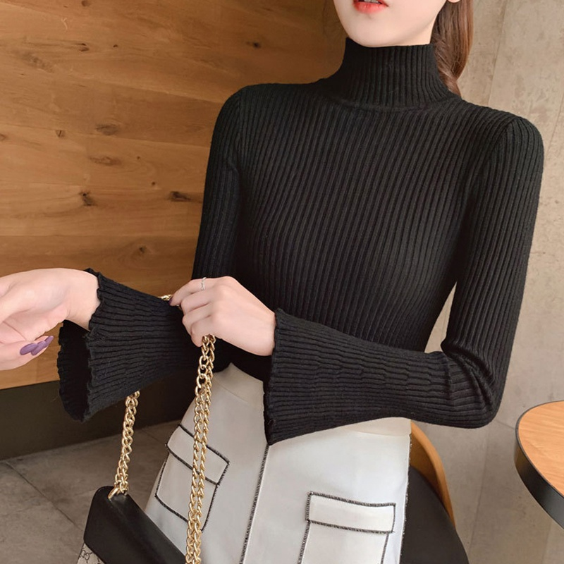 Sweater bottoming half-high collar Autumn Winter Korean sweater women Long-sleeve Solid Turtleneck Knitted Sweater Pullover thin