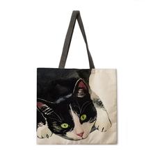 Obraz olejny nadruk kota tote bag tote bag casual tote bag torba na ramię kobieta torba na plażę składana torba na zakupy tanie tanio MZSHUANG Torebka na co dzień Linen CN (pochodzenie) Klasyczny BRAK KIESZENI Versatile OPEN Unisex NONE SOFT W stylu rysunkowym