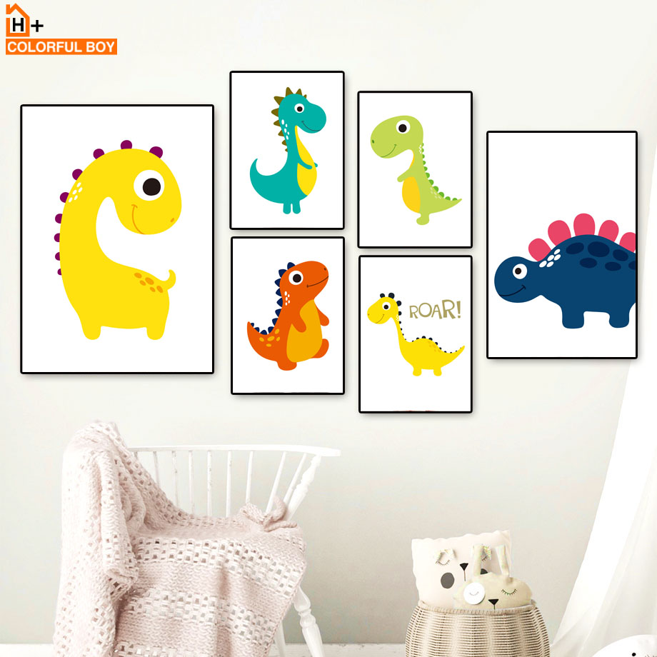 Cartoon Cute Baby Dinosaur Kids Bedroom Nordic Posters And Prints Wall Art Canvas Painting Wall Pictures For Kids Room Boy Girl