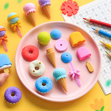 4PCS /Pack Cute Dessert Eraser Set Lovely Lollipop Icecream Popsicle Donuts Rubber Creative Pencil Eraser For Kids School Supply