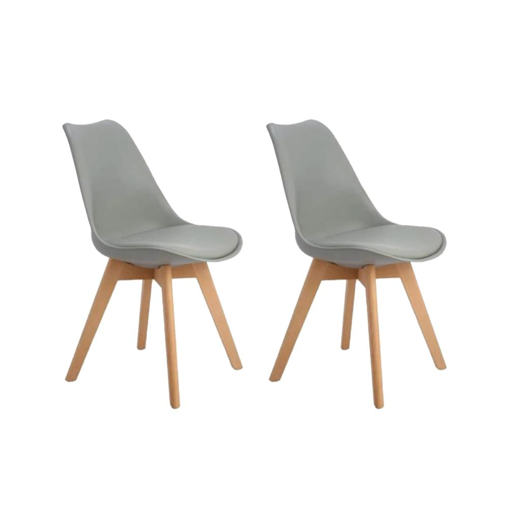 EGGREE Set Of 2pcs Tulip Padded Dining Chair With Beech Wood Legs For Dining Room And Bedroom - Grey - 2-8days EU Warehouse