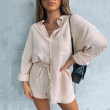 2021 Fashionable Cotton Linen Breathable Comfortable High Waist Wide Leg Pants Suit Sports Casual Western Two piece Lady